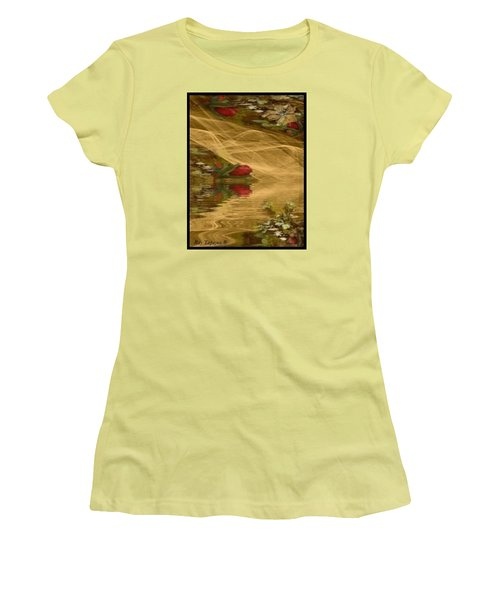 Women's T-Shirt (Junior Cut) featuring the mixed media A Rose Bud Stream by Ray Tapajna