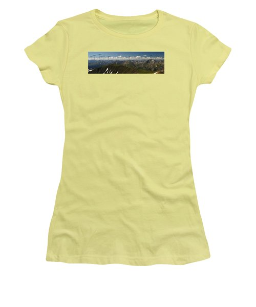 A Summit View Panorama Text Women's T-Shirt (Junior Cut) by Jeremy Rhoades