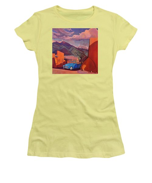 Women's T-Shirt (Junior Cut) featuring the painting A Teal Truck In Taos by Art James West