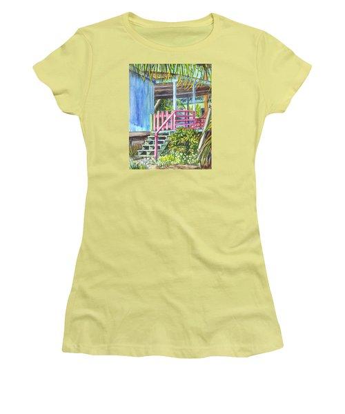 Women's T-Shirt (Junior Cut) featuring the painting A Tropical House Porch by Carol Wisniewski