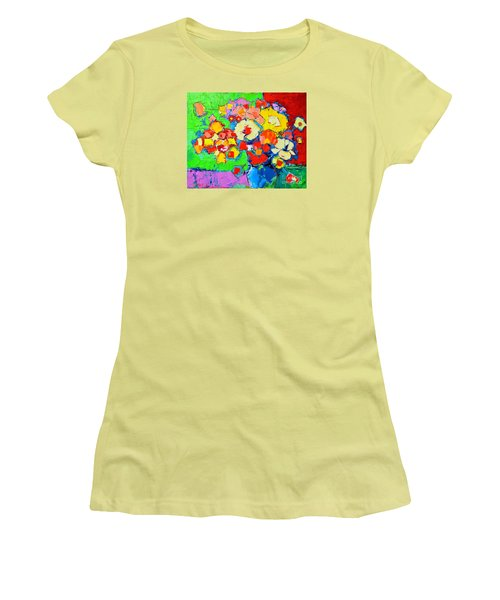 Abstract Colorful Flowers Women's T-Shirt (Junior Cut) by Ana Maria Edulescu