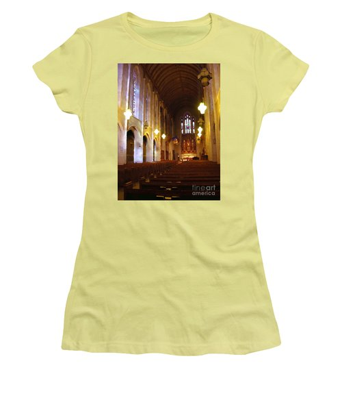 Abstract - Egner Memorial Chapel Interior Women's T-Shirt (Junior Cut) by Jacqueline M Lewis