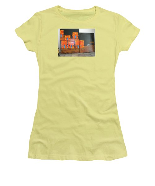 Women's T-Shirt (Junior Cut) featuring the painting Adobes by Sharyn Winters