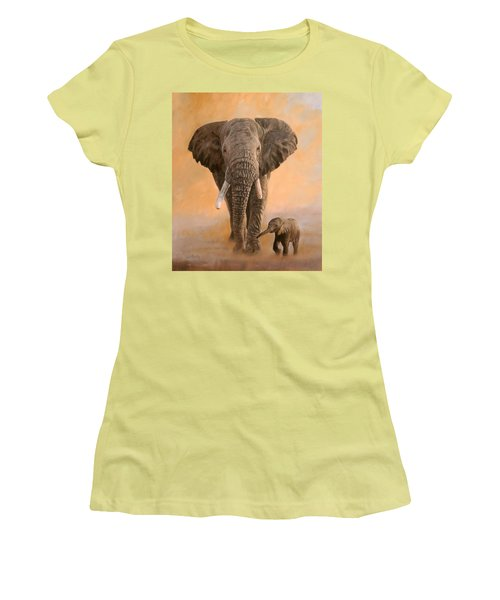 African Elephants Women's T-Shirt (Athletic Fit)