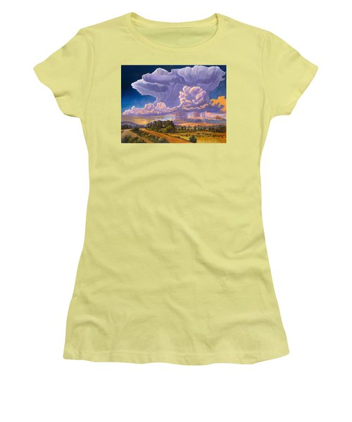 Women's T-Shirt (Junior Cut) featuring the painting Afternoon Thunder by Art James West