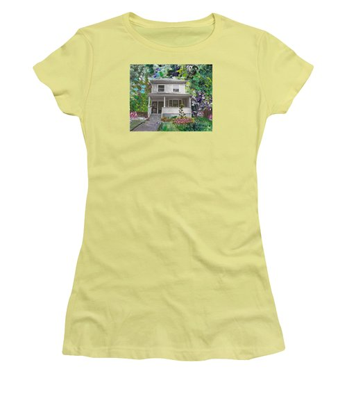 Women's T-Shirt (Junior Cut) featuring the painting Alameda 1933 Duplex - American Foursquare  by Linda Weinstock