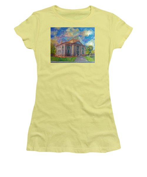 Women's T-Shirt (Junior Cut) featuring the mixed media Alameda Carnegie Library 1899 by Linda Weinstock
