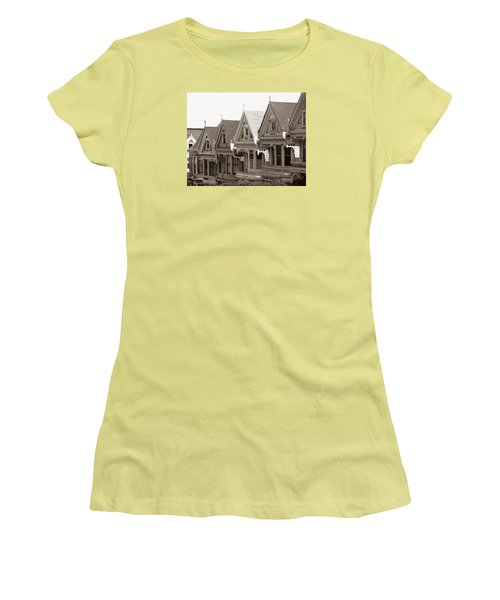 Alamo Square - Victorian Painted Ladies 2009 Women's T-Shirt (Junior Cut) by Connie Fox