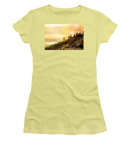 Women's T-Shirt (Junior Cut) featuring the photograph Alaska Montage by Ann Lauwers
