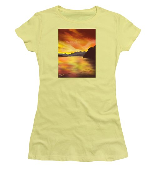 Women's T-Shirt (Junior Cut) featuring the painting Alaska Sunset by Terry Frederick