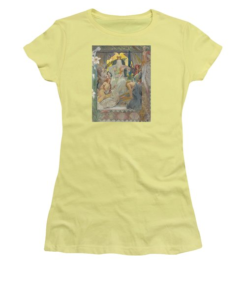 Women's T-Shirt (Junior Cut) featuring the painting Arabian Nights By Andre Castaigne by Antique Art