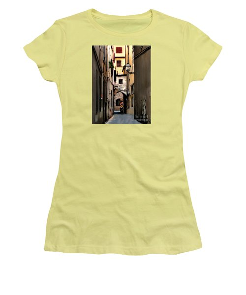 Women's T-Shirt (Junior Cut) featuring the photograph Alley In Florence 1 by Jennie Breeze
