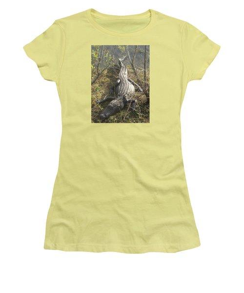 Women's T-Shirt (Junior Cut) featuring the photograph Alligator by Robert Nickologianis