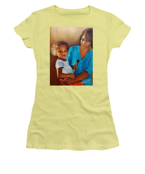 Women's T-Shirt (Athletic Fit) featuring the painting Always In Her Heart And In Her Hands by Marlene Book
