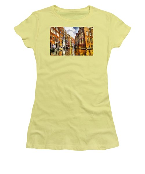 Women's T-Shirt (Junior Cut) featuring the painting Amasterdam Houses In The Water by Georgi Dimitrov