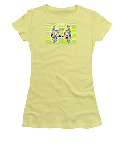 American Sign Language Family                                                    Women's T-Shirt (Junior Cut) by Eloise Schneider
