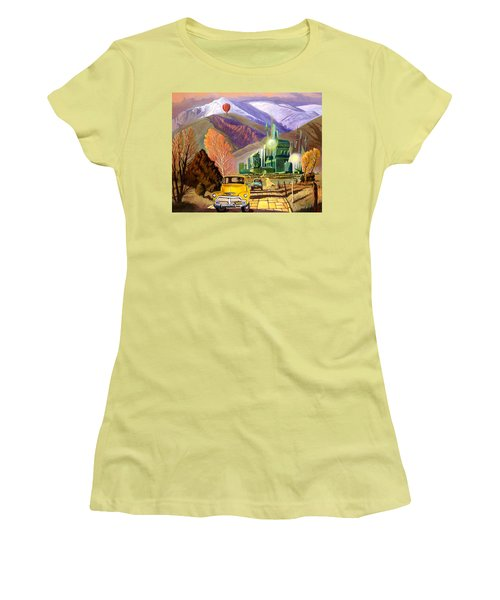 Women's T-Shirt (Junior Cut) featuring the painting Trucks In Oz by Art James West