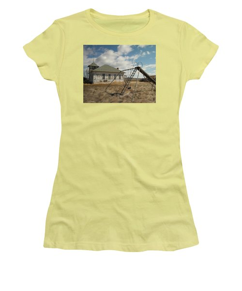 An Old School Near Miles City Montana Women's T-Shirt (Junior Cut) by Jeff Swan