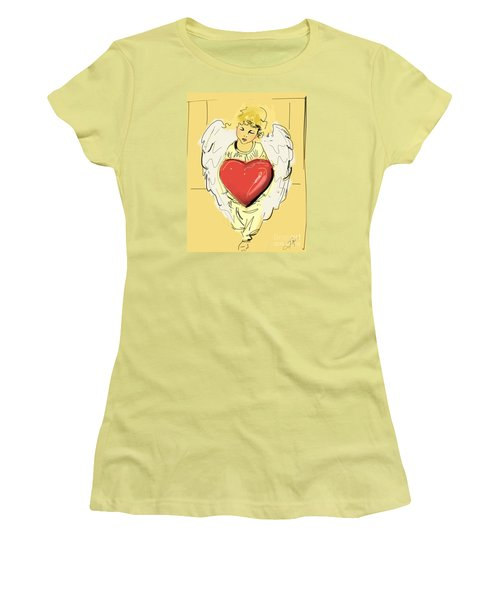 Angel Red Heart Women's T-Shirt (Junior Cut) by Go Van Kampen