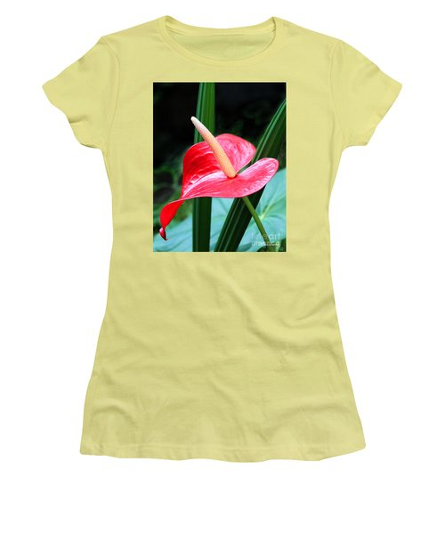 Women's T-Shirt (Junior Cut) featuring the photograph Anthurium by Mariarosa Rockefeller