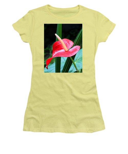 Anthurium Women's T-Shirt (Junior Cut) by Mariarosa Rockefeller