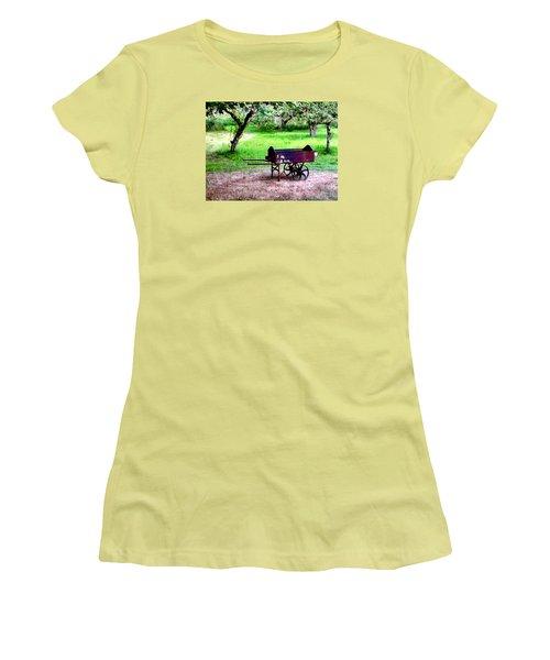 Antique Wheelbarrow Women's T-Shirt (Junior Cut) by Sadie Reneau