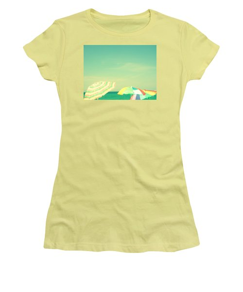 Women's T-Shirt (Junior Cut) featuring the digital art Aqua Sky With Umbrellas by Valerie Reeves