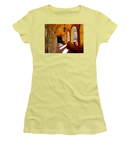 Archway By Courtyard In Castello Di Amorosa In Napa Valley-ca Women's T-Shirt (Athletic Fit)