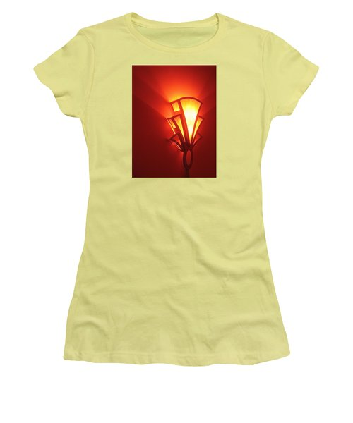 Women's T-Shirt (Junior Cut) featuring the photograph Art Deco Light Fox Tucson Arizona  Theater  2006 by David Lee Guss