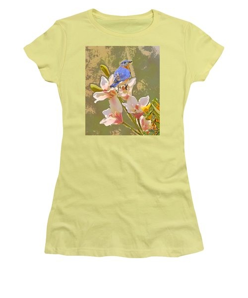 Bluebird On Orchids Artistic Photo Women's T-Shirt (Athletic Fit)