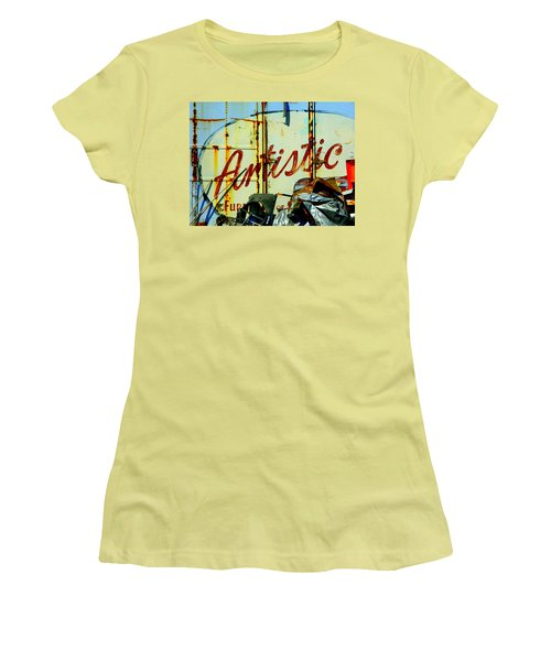 Women's T-Shirt (Junior Cut) featuring the photograph Artistic Junk by Kathy Barney