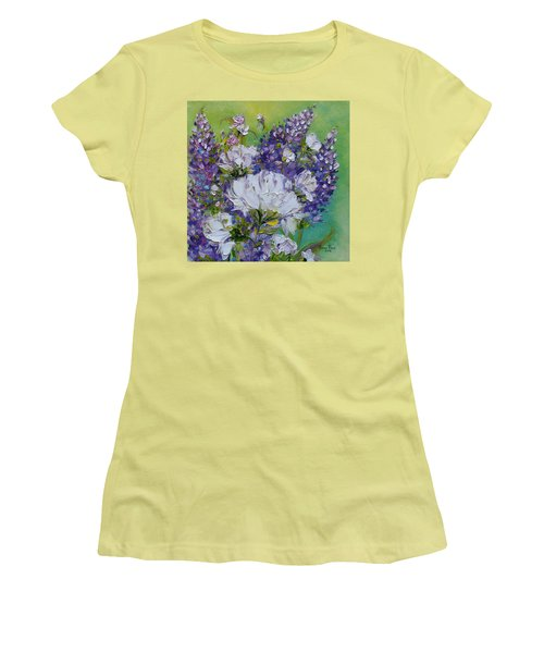Women's T-Shirt (Athletic Fit) featuring the painting At Peg's Request by Judith Rhue