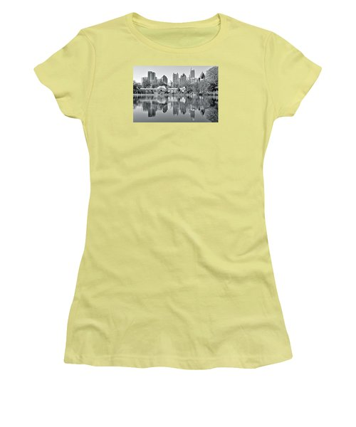 Atlanta Reflecting In Black And White Women's T-Shirt (Junior Cut)