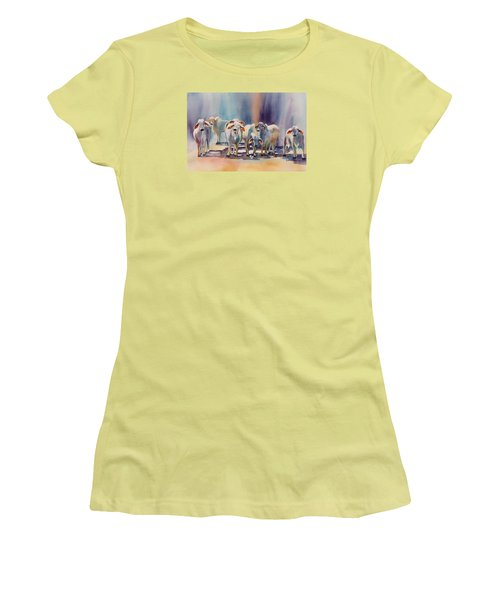 Women's T-Shirt (Junior Cut) featuring the painting Attention All Ears.  Brahman Bulls by Roxanne Tobaison