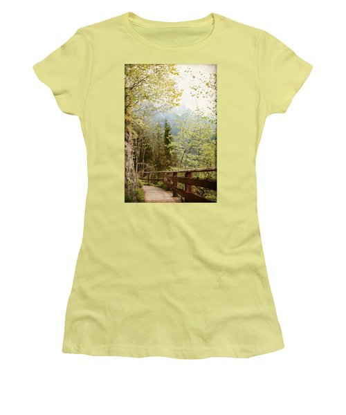 Austrian Woodland Trail And Mountain View Women's T-Shirt (Athletic Fit)
