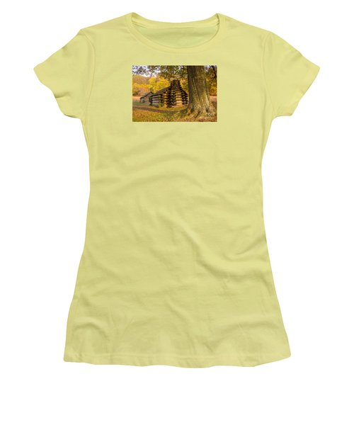 Women's T-Shirt (Junior Cut) featuring the photograph Autumn And The Huts At Valley Forge by Rima Biswas