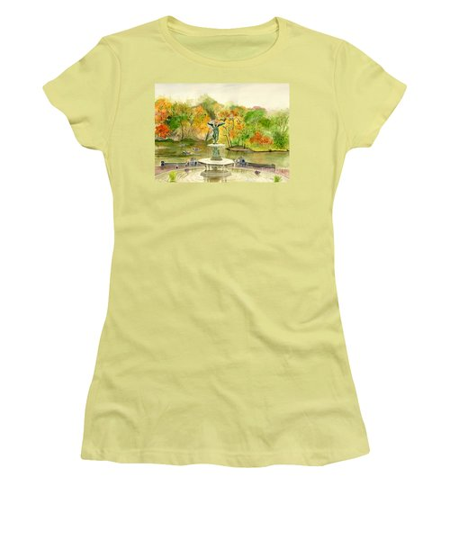 Autumn At Central Park Ny Women's T-Shirt (Junior Cut) by Melly Terpening