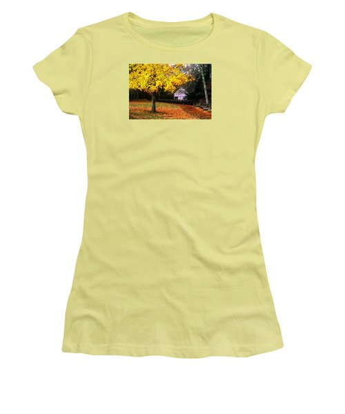 Women's T-Shirt (Junior Cut) featuring the photograph Autumn At Old Mill by Rodney Lee Williams