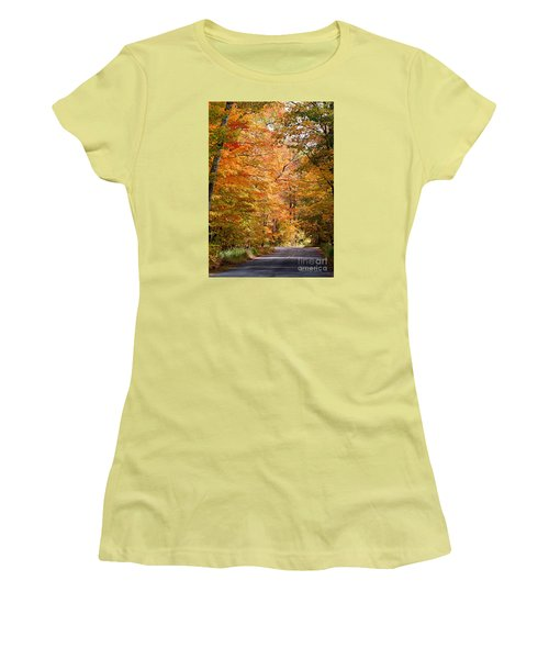 Women's T-Shirt (Athletic Fit) featuring the photograph Autumn Colors - Colorful Fall Leaves Wisconsin IIi by David Perry Lawrence