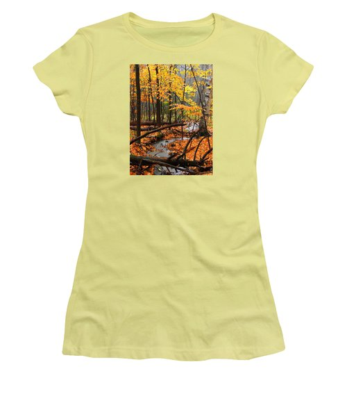 Women's T-Shirt (Junior Cut) featuring the photograph Autumn Creek In The Rain by Rodney Lee Williams