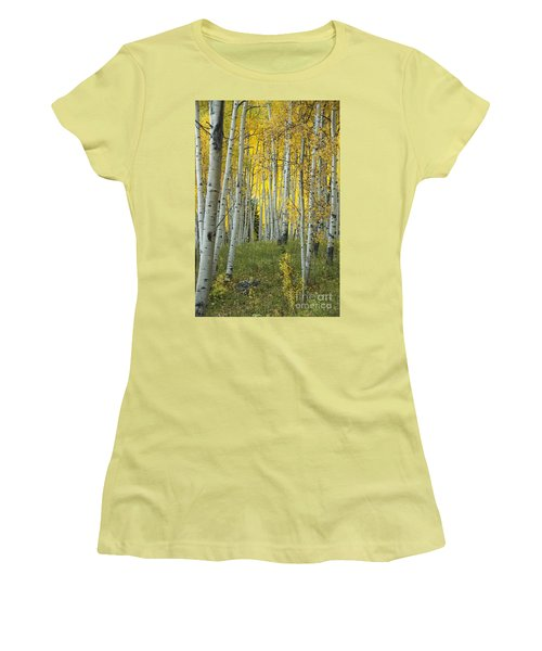 Autumn In The Aspen Grove Women's T-Shirt (Junior Cut) by Juli Scalzi