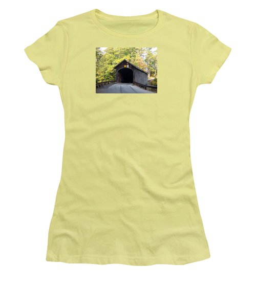 Babbs Covered Bridge Women's T-Shirt (Junior Cut) by Catherine Gagne