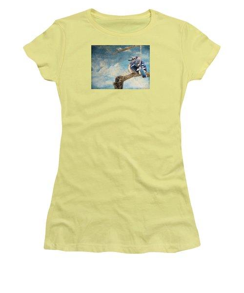 Baby Blue Jay In Winter Women's T-Shirt (Junior Cut) by Janette Boyd