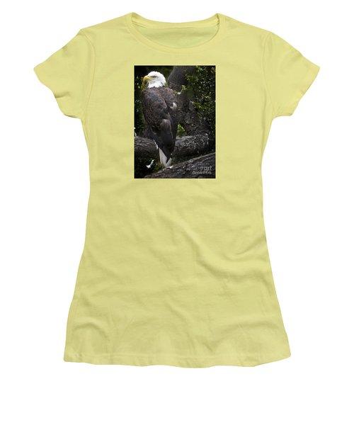 Bald Eagle Women's T-Shirt (Junior Cut) by David Millenheft
