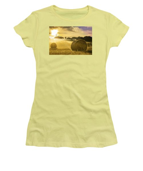 Bales In The Morning Mist Women's T-Shirt (Athletic Fit)