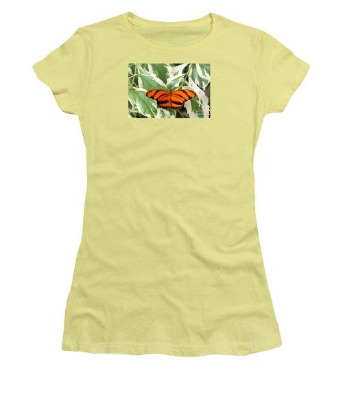 Banded Orange Longwing Butterfly Women's T-Shirt (Junior Cut) by Judy Whitton
