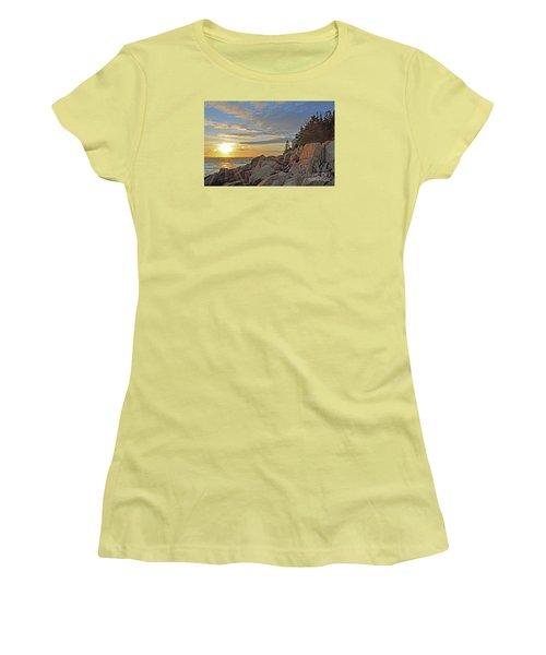 Women's T-Shirt (Junior Cut) featuring the photograph Bass Harbor Lighthouse Sunset Landscape by Glenn Gordon