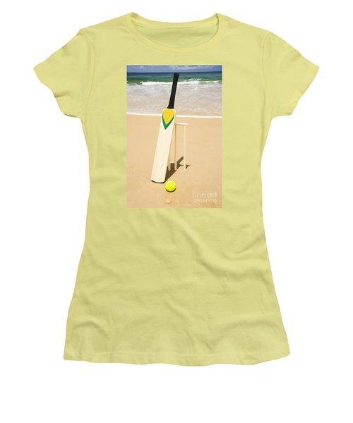 Bat Ball And Stumps Women's T-Shirt (Junior Cut) by Jorgo Photography - Wall Art Gallery