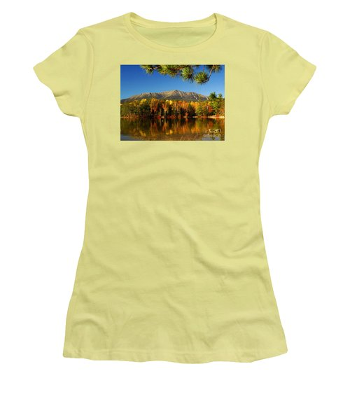 Women's T-Shirt (Junior Cut) featuring the photograph Baxter Fall Reflections  by Alana Ranney