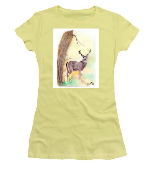 Women's T-Shirt (Junior Cut) featuring the painting Be A Dear by C Sitton